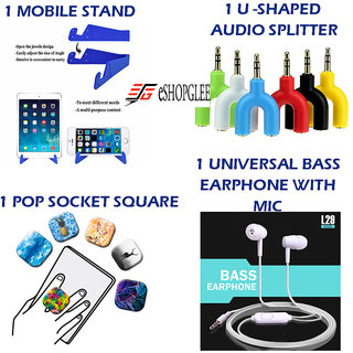 Combo of 4 in 1 Mobile Accessories (1 mobile stand + 1 U-shaped audio splitter + 1 Pop Socket square+ 1 Earphone)