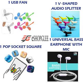 Combo of 4 in 1 Mobile Accessories (1 USB Fan +1 V-shaped audio splitter + 1 Pop Socket square+ 1 Earphone)