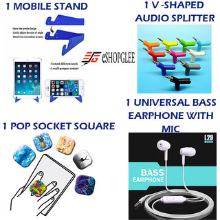 Combo of 4 in 1 Mobile Accessories (1 mobile stand + 1 V-shaped audio splitter + 1 Pop Socket square+ 1 Earphone)