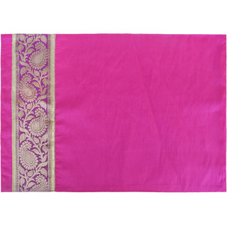 H & W Pink/Gold Placemat with Patch Banaras Jacquard Polyester Fabric over Poly Dupion Fabric & Poly Texo Fabric Back- Set of 2 (33 X 48 Cm)