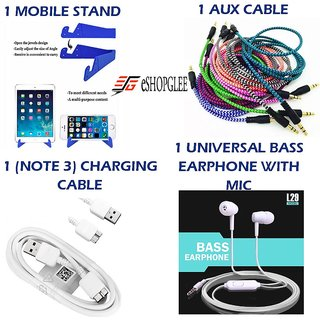 Combo of 4 in 1 Mobile Accessories (1 Mobile Stand +1 Aux Cable + 1 (note 3) charging cable+ 1 Earphone)