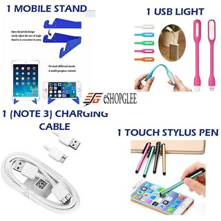 Combo of 4 in 1 Mobile Accessories (1 Mobile Stand +1 USB Light + 1 (note 3) charging cable+ 1 Touch stylus pen)