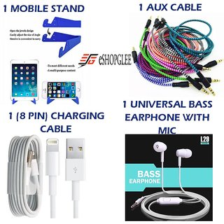Combo of 4 in 1 Mobile Accessories (1 Mobile Stand +1 Aux Cable + 1 (8 pin) charging cable+ 1 Earphone)