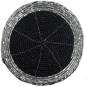 H  W White/Black Beaded Table Coster- Set of 4