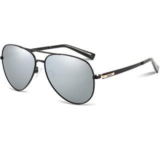 5e8e8946e6 PARIM Polarized   UV Protected Metal Aviator Sunglasses for Men - Model  11004 B1 - Medium Size  (61) Lenses  Polarized Grey Frame  Black