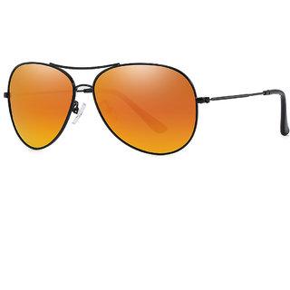 1e87c4b5803 PARIM Polarized   UV Protected Metal Aviator Sunglasses for Men   Women -  Model 1283 B1 - Medium Size  (61) Lenses  Polarized Orange Frame  Black