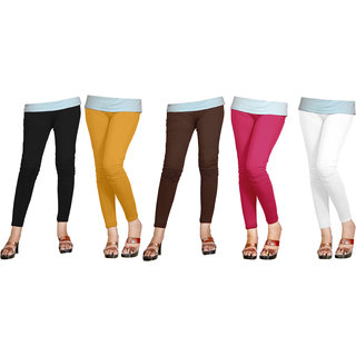 Naisargee Women's and Girl's Black-OatColor-Brown-BabyPink-White Silk Ankle Length Combo Leggings -(XL Size - Pack of 5)