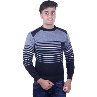 cd0bfae1e95c8 Buy Oh Yes Striped Round Neck Casual Men s Grey Sweater Online - Get ...