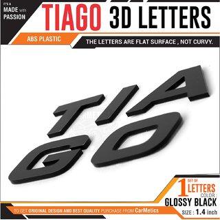 Carmetics TIAGO 3d Letters for Tata TIAGO - tata TIAGO accessories 3d stickers logo emblem graphics - Glossy Black Finis