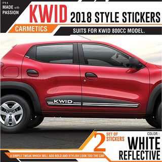 CarMetics Kwid 2018 style stickers for Renault door kwid 800CC  White Reflective 2sets Free Chrome PTRL-sti decals acces