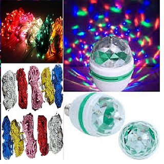5 RICE STRING LIGHTS AND 1 ROTATING MULTI COLOR LAMP