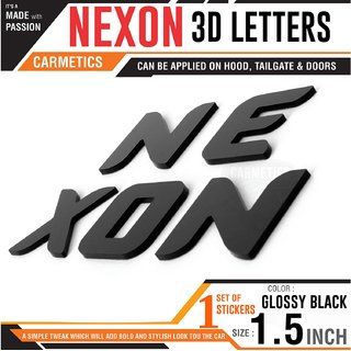 Carmetics Nexon 3d Letters for Tata nexon accessories 3d stickers logo emblem graphics Decals Glossy Black Org Typ 1-Set