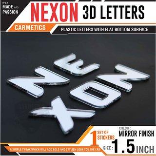 Carmetics Nexon 3d Letters for Tata nexon accessories 3d stickers logo emblem graphics  Glossy Black Org Type 1 SET