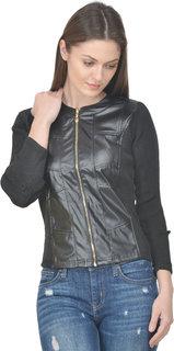 Raabta Black Faux Leather Jacket with Rib Sleeve