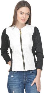 Raabta White Faux Leather Jacket with Rib