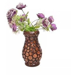 Desi Karigar Wooden Antique Flower Vase With Handwork Design