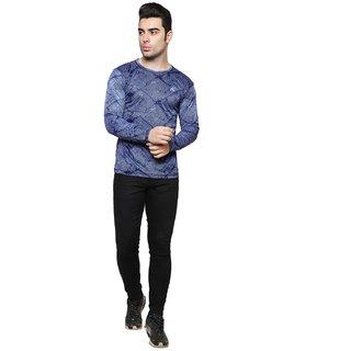 ISHU Printed Men's Full Sleeve Round Neck Navy Tshirt