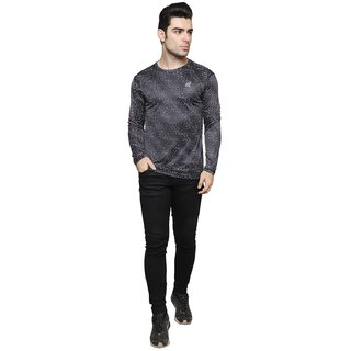 iSHU Printed Men's Full Sleeve Round Neck Black Tshirt