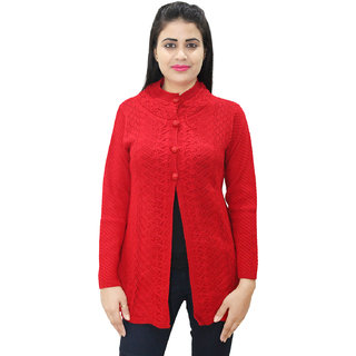 Matelco Women's Red Button Cardigan with Pockets L