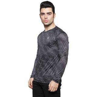 ISHU Men Black Cotton Lycra Dry-fit Full Sleeve T-shirt