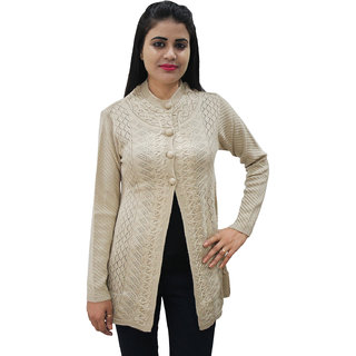Matelco Women's Beige Button Cardigan with Pockets L