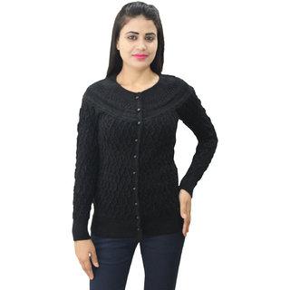 Matelco Women's Woollen Full Sleeves Self Designing Short Cardigan M