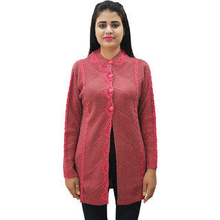Matelco Women'S Embroidered Dark Pink  Button Coat With Pockets L