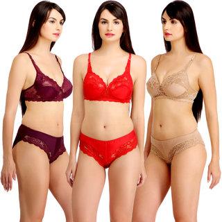 Fashion Comfortz Women's Multicolor Plain Satin Lingerie Set