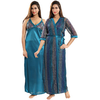 Buy Be You Blue Geometric Print Women Nighty with Robe (2 pieces Nighty Set)  Online - Get 39% Off 77be7c120