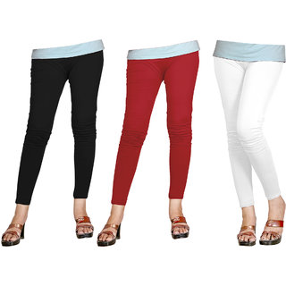 Naisargee Women's and Girl's Black-Red-White Silk Ankle Length Combo Leggings -(XXL Size - Pack of 3)