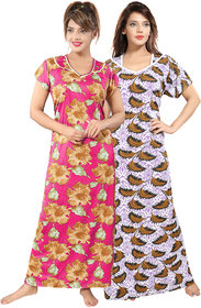 Be You Multicolor Floral Women Night Gowns Pack of 2