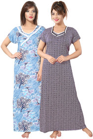 Be You Multicolor Printed Women Nightgowns Pack of 2