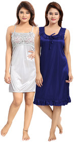 Be You Grey-Blue Solid Women Babydoll Nighty Pack of 2