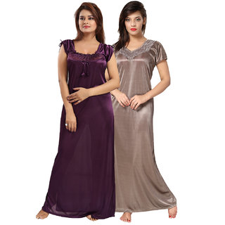 Be You Multicolor Solid Women Nightgowns (Pack of 2)