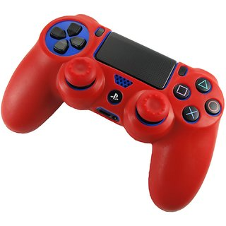 TCOS TECH Protective Silicone Case Red with 2 Red Silicone Thumb Grips for Sony PS4 Controller