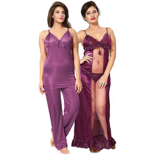 cf7ea0035f01 Buy Be You Purple Solid Women Nightwear Set (Night Suit Nighty ...