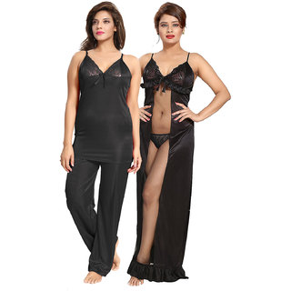 Be You Black Solid Women Nightwear Set (Night Suit  Nighty)