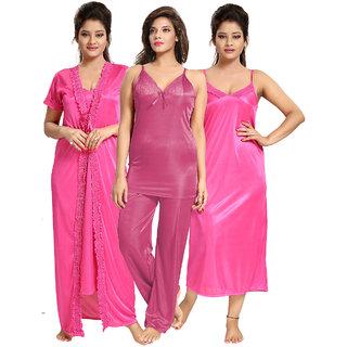 Be You Pink Solid Women Nightwear Set