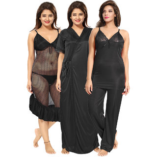 Be You Black Solid Women Nightwear Set