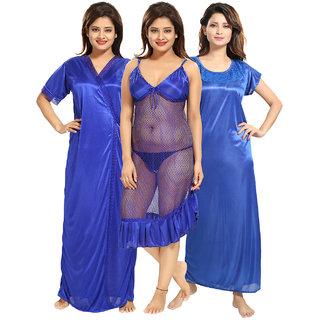 Be You Blue Solid Women Nightwear Set