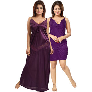 Be You Purple Solid Women Nighty Set of 2