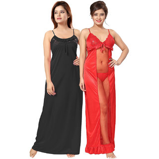 Be You Red-Black Solid Women Nighty / Nightdress Pack of 2