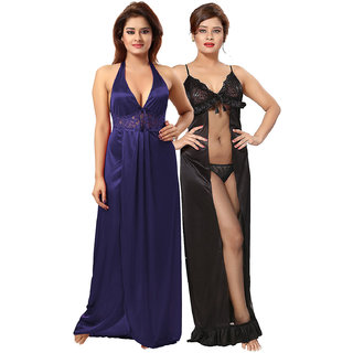 Be You Blue-Black Solid Women Nighty / Nightdress Pack of 2