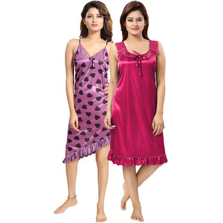 Be You Multicolor Hearts Print Women Nighty Combo Pack of 2