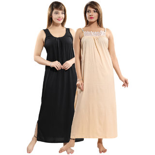 Be You Black-Beige Solid Women Nighty Combo Pack of 2