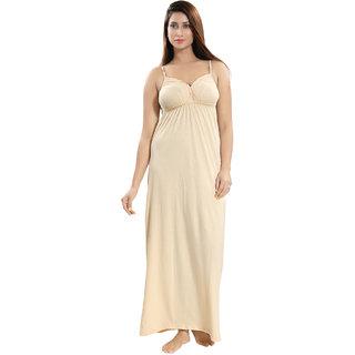 Be You Beige Cotton Women Slip Nighty / Night Dress