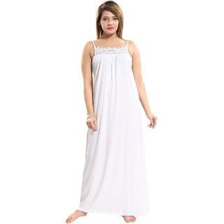 Be You White Cotton Women Lace Slip Nighty /Nightgown