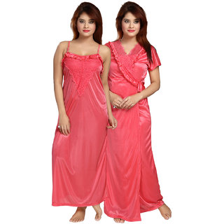 Be You Peach Solid Women Nighty with Robe (2 pieces Nighty Set)