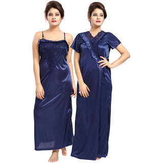 Be You Navy Blue Solid Women Nighty with Robe (2 pieces Nighty Set)