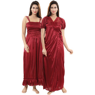 Be You Maroon Solid Women Nighty with Robe (2 pieces Nighty Set)